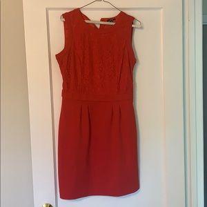 Red lace sheath dress size medium